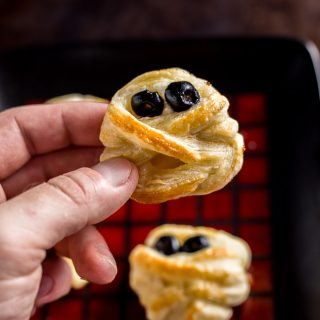 Halloween Puff Pastry Mummy Cheese Wheels