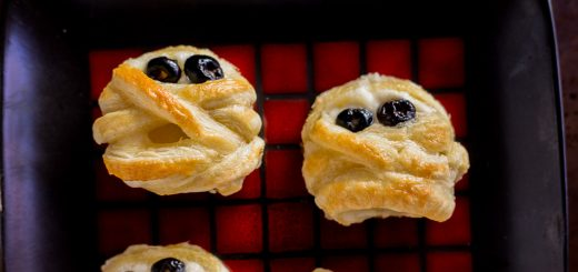 Halloween Puff Pastry Mummy Cheese Wheels recipe | platingpixels.com