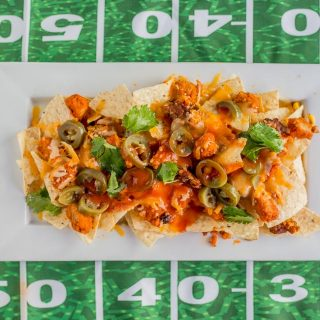 Loaded Veggie Buffalo Chicken Nachos (Football Appetizer)