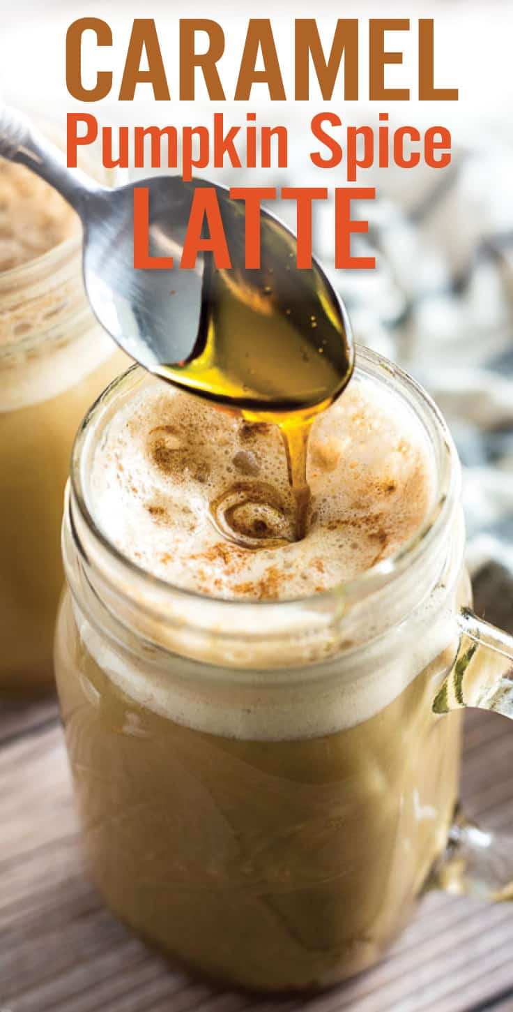 Caramel Pumpkin Spice Latte. Learn how to make Homemade Caramel Pumpkin Spice Latte in a just a few steps. Made with coffee, milk, maple syrup, pumpkin puree and pumpkin pie spice. So delicious and super easy! #pumpkinspice #pumpkinspicelatte #latte