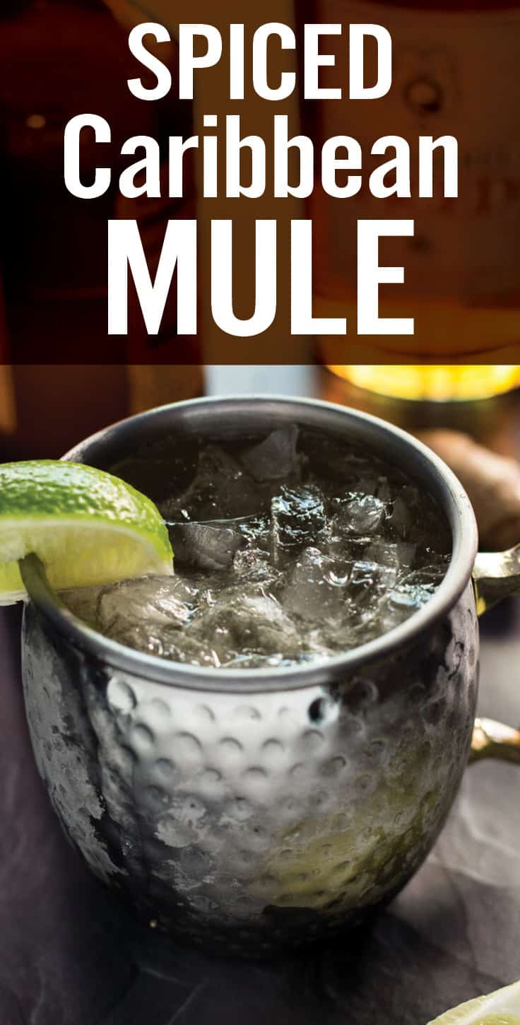 Easy Caribbean Mule Cocktail made from scratch and includes a homemade ginger simple syrup, ginger beer, lime, and spiced rum. This Moscow Mule with Rum is simple, yet classy enough to impress any cocktail critic. #moscowmule #caribbeanmule #rummule