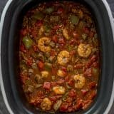 One Pot Shrimp and Sausage Jambalaya in a slow cooker
