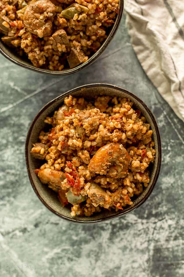 Shrimp and Sausage Jambalaya in two bowls