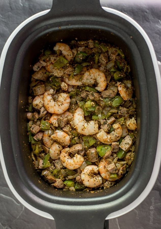Shrimp and Sausage Jambalaya in a slow cooker