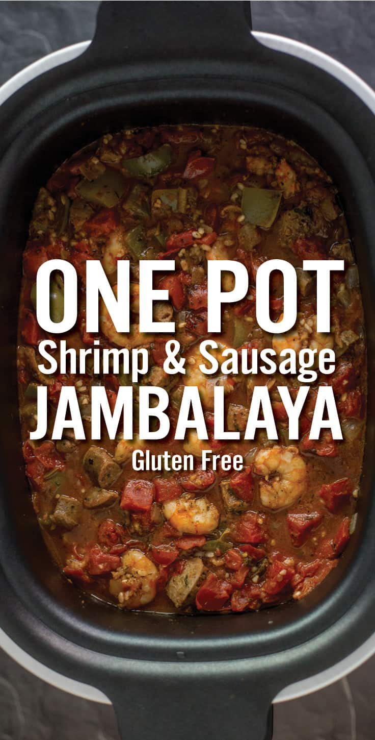 A overhead shot of a jambalaya in a crock pot with One Pot Shrimp and Sausage Jambalaya written in bold text