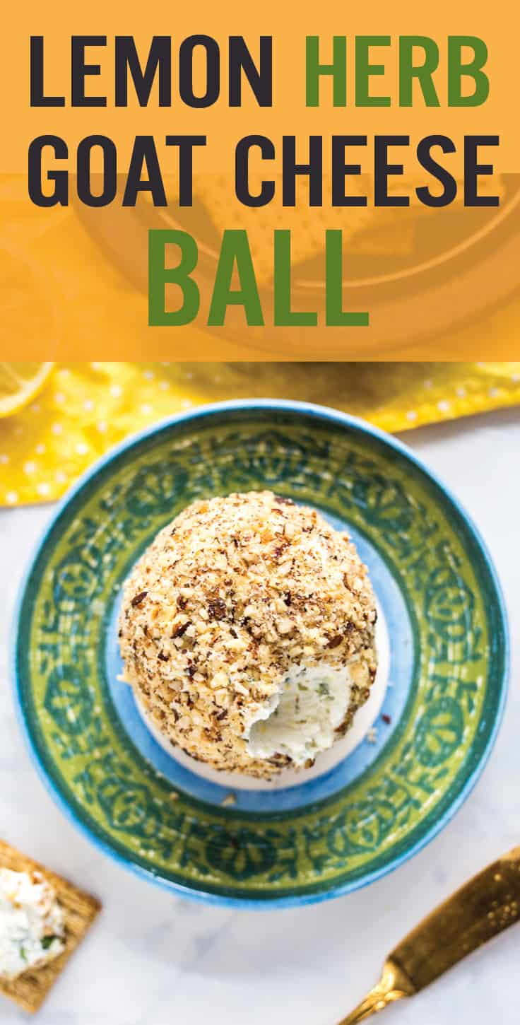This Lemon Herb Goat Cheese Ball makes a quick party appetizer simply by mixing together goat cheese, cream cheese, lemon zest, green onion and fresh herbs. Great for holidays, parties and game-time snacking. #cheeseball #holiday appetizer #goatcheese