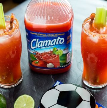 Bloody Mary Michelada with Bacon Swizzle Sticks - platingpixels.com
