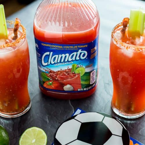Bloody Mary Michelada with Bacon Swizzle Stick