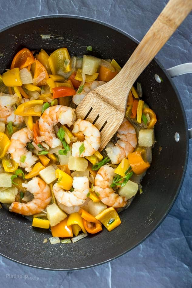 Preparing One Pot Tropical Shrimp Stir Fry recipe - platingpixels.com