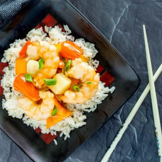 One Pot Tropical Shrimp Stir Fry with Coconut Rice
