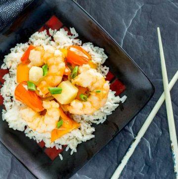 One Pot Tropical Shrimp Stir Fry with Coconut Rice recipe - platingpixels.com