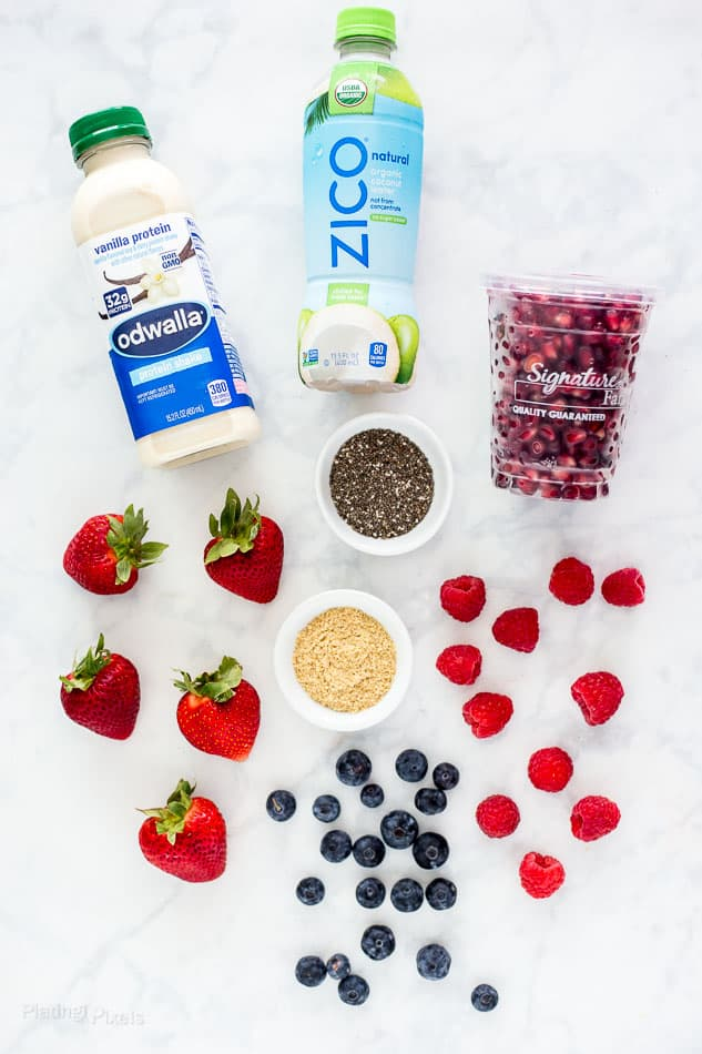 Ingredients for Pomegranate and Berry High-Protein Smoothie Bowl - platingpixels.com