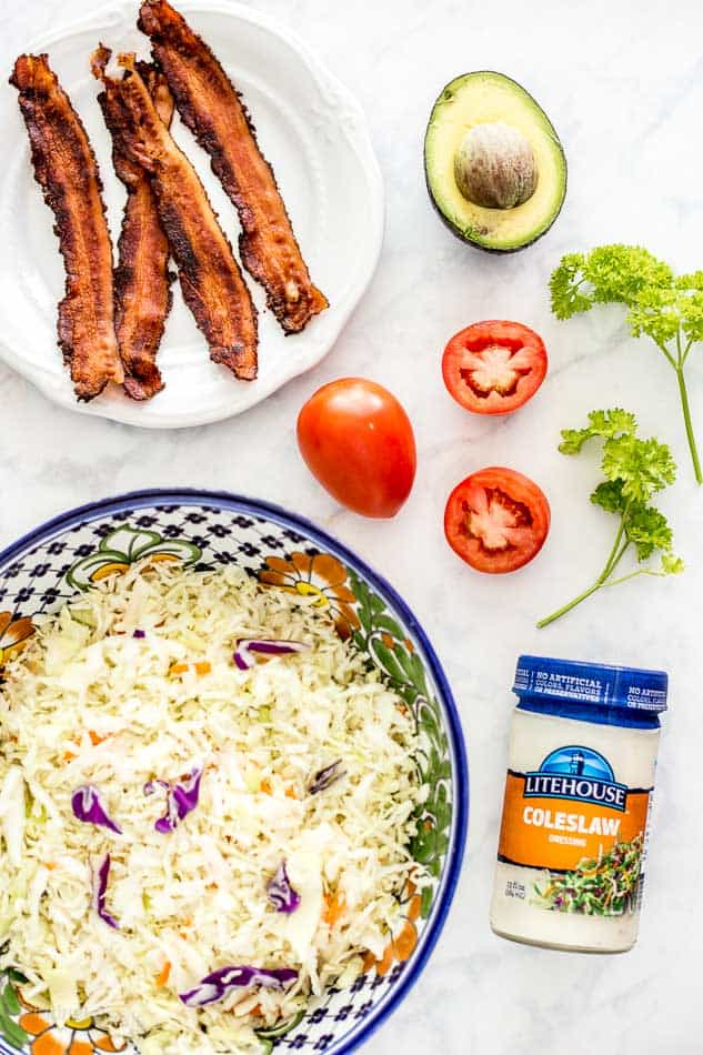 Ingredients for 5 Minute BLT Coleslaw Salad recipe - platingpixels.com