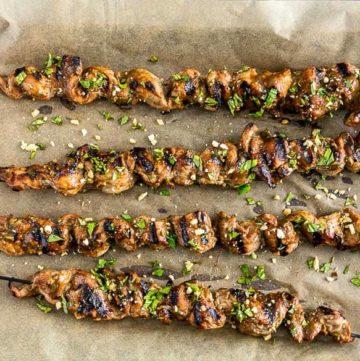 Grilled Pork Tenderloin Satay Skewers recipe - platingpixels.com