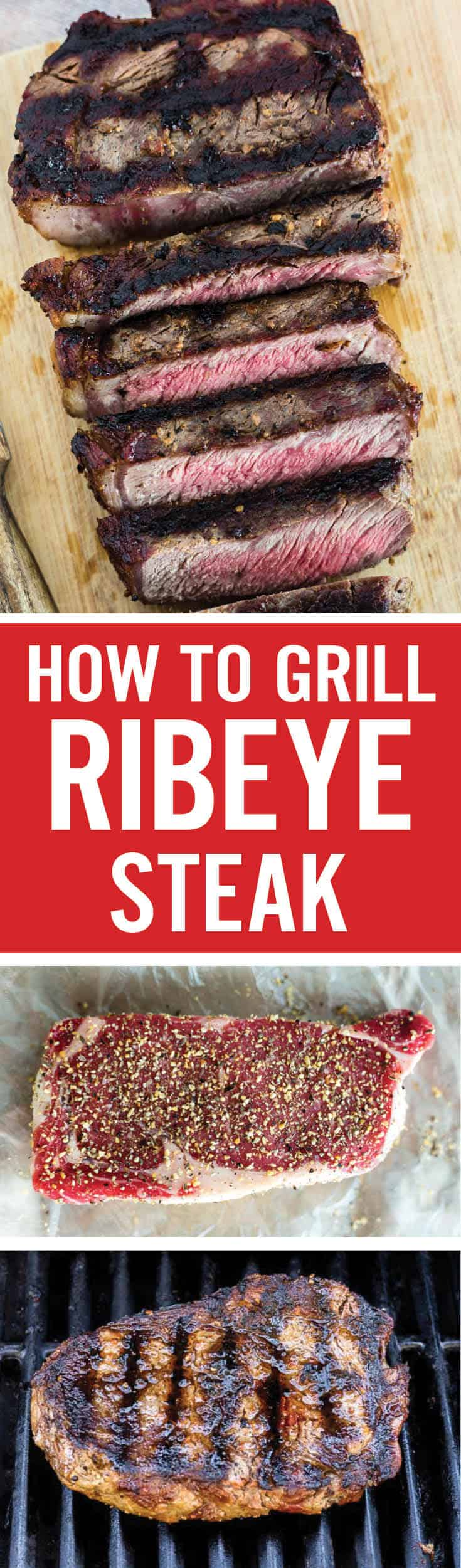 Learn how to grill ribeye steak that is juicy and tender, with perfect sear marks on the outside. Follow these simple tips to cook the best ribeye steak on a gas grill. Everything from how to season, how long to rest, and safe cooking temps is covered. #ribeye #grilledribeye #grilledsteak
