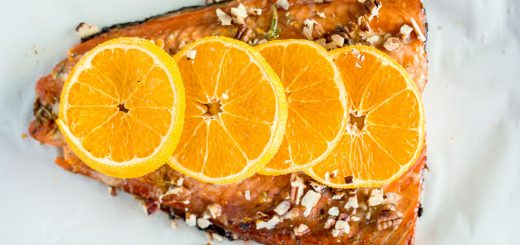 Maple Glazed Sheet Pan Salmon with Citrus recipe - platingpixels.com