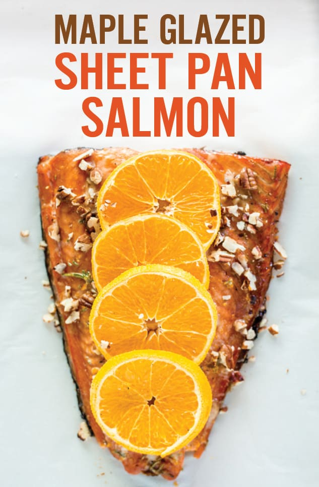 Maple Glazed Sheet Pan Salmon is a quick and easy way to enjoy healthy seafood with a fall theme. Simply give it a quick marinade and roast in a sheetpan for easy cleanup. Marinade includes maple, pumpkin pie spice, orange zest and rosemary. Topped with chopped roasted pecans. #sheetpan #salmon #mapleglazed #sheetpansalmon