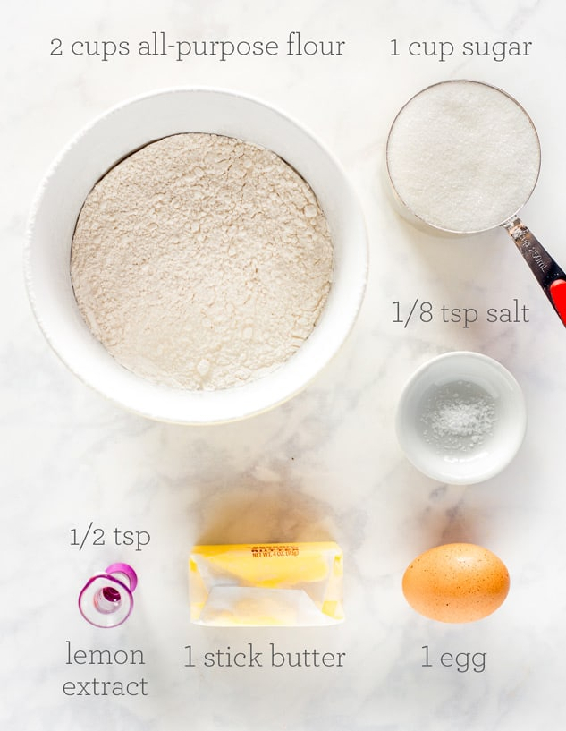 Collage of ingredients for Sugar Cookies with text