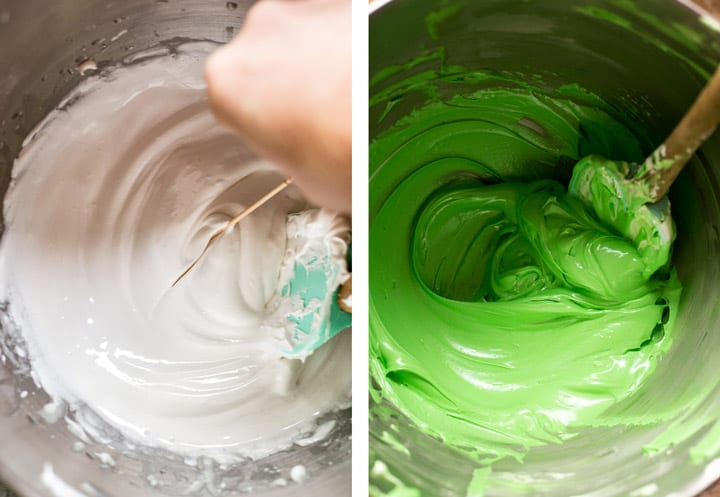 Testing thickness of royal icing with toothpick next to image of mixing green royal icing