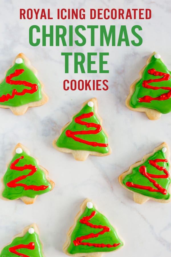 Decorated Christmas Tree Cookies with Royal Icing