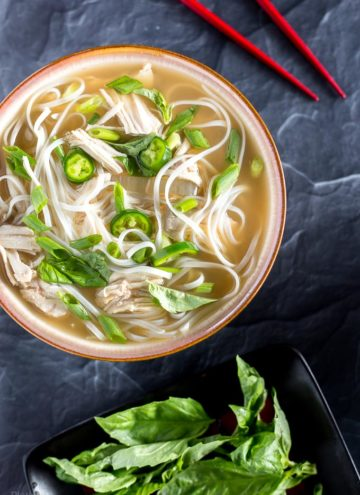 Overhead view of Slow Cooker Chicken Pho Soup