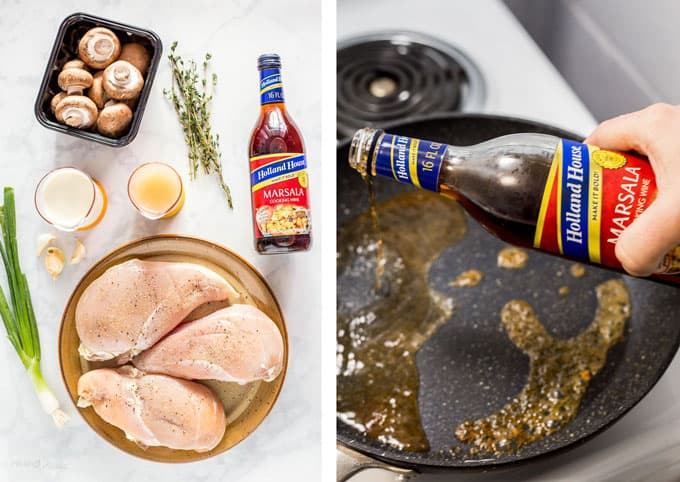 Collage of ingredient for Slow Cooker Turkey Marsala and deglazing pan with marsala cooking wine on stove