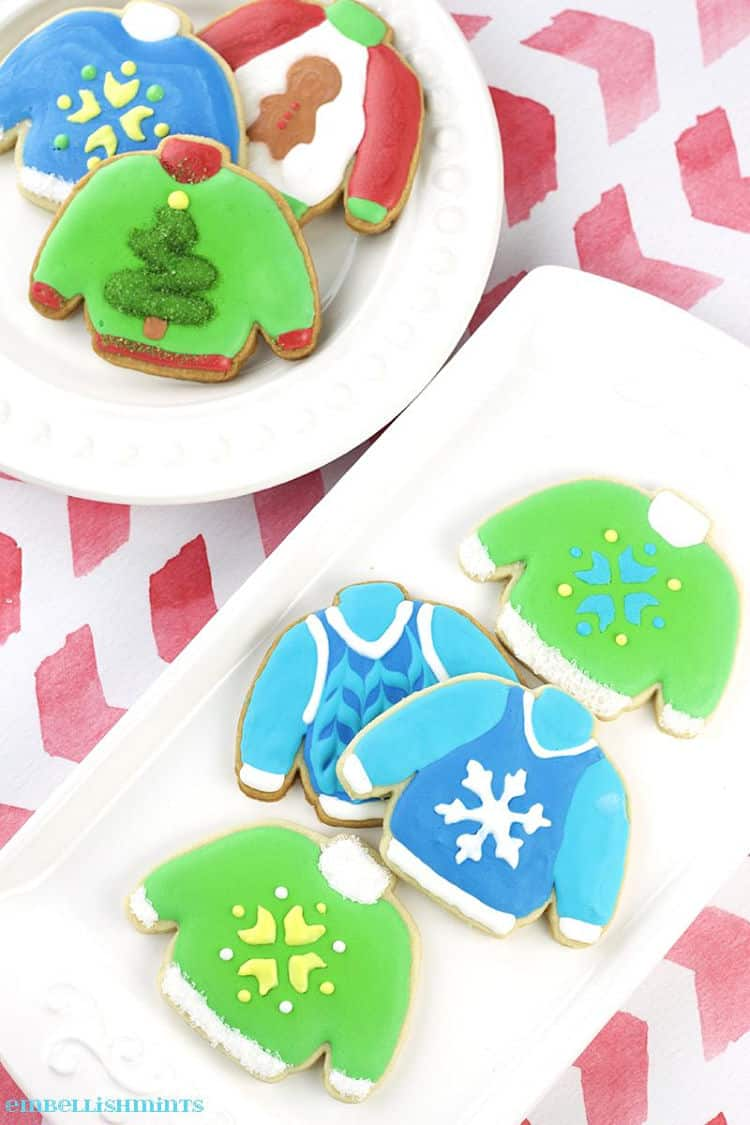 Ugly Christmas Sweater Cookies on a white plate