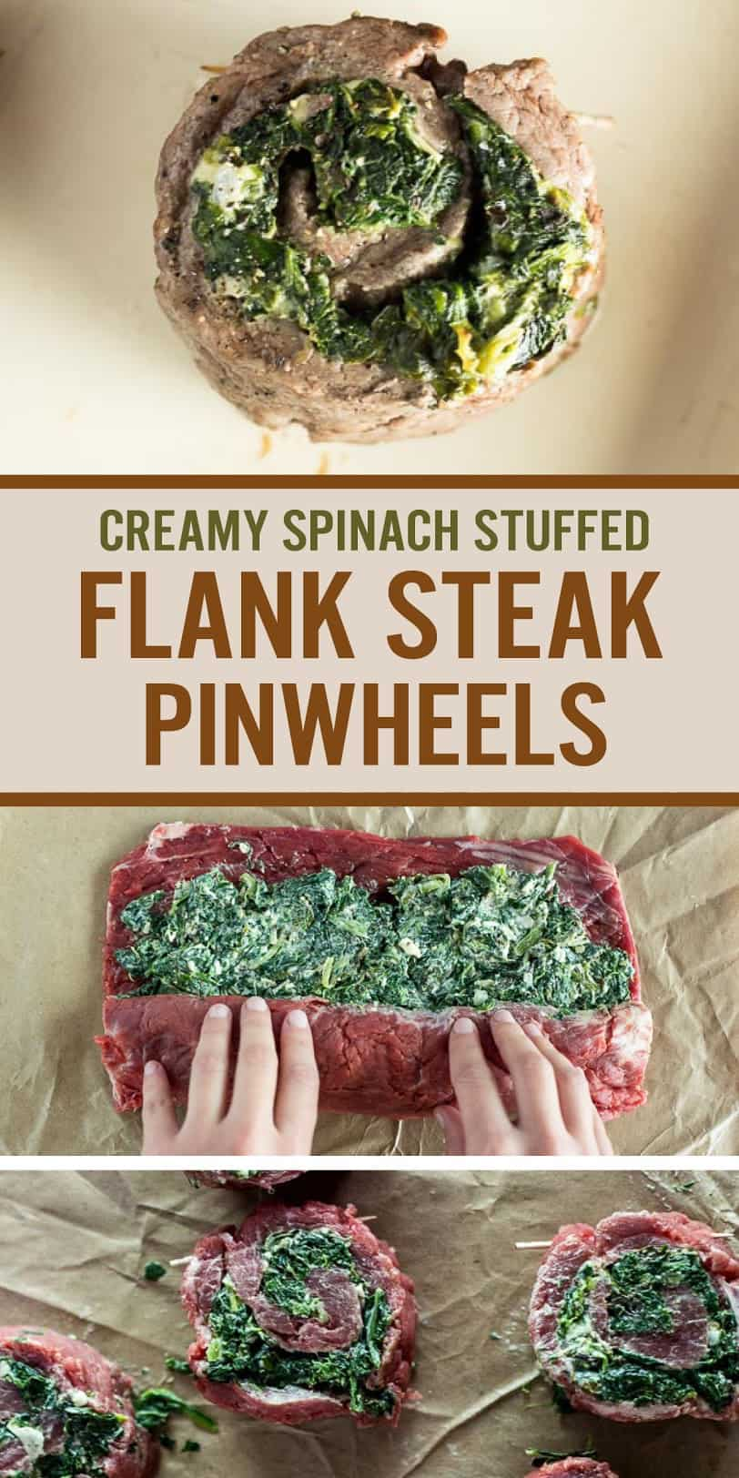 Creamy Spinach Stuffed Flank Steak Pinwheels make a unique and fancy appetizer that\'s great for the holidays. Made with flank steak, spinach and Parmesan dip. Plus tips to make rolled pinwheels with optimal flavor and texture. #steakpinwheels #flanksteak #holidayappetizer