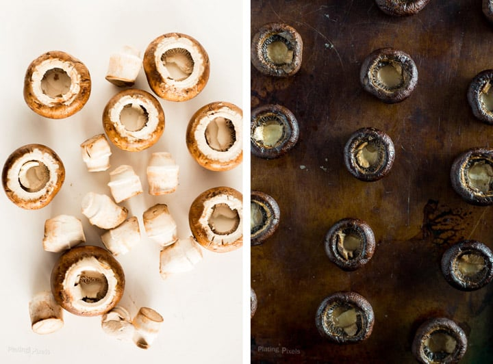Two images showing process shot of stemming cremini mushrooms then baking on a baking sheet to make stuffed mushrooms