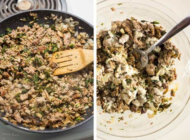 Two images showing process shot of cooking filling and mixing together to make Italian Sausage Stuffed Mushrooms