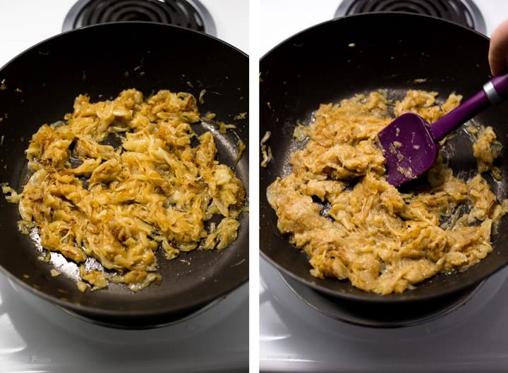 Two images showing last part of caramelizing onions in a pan to make French Onion Soup