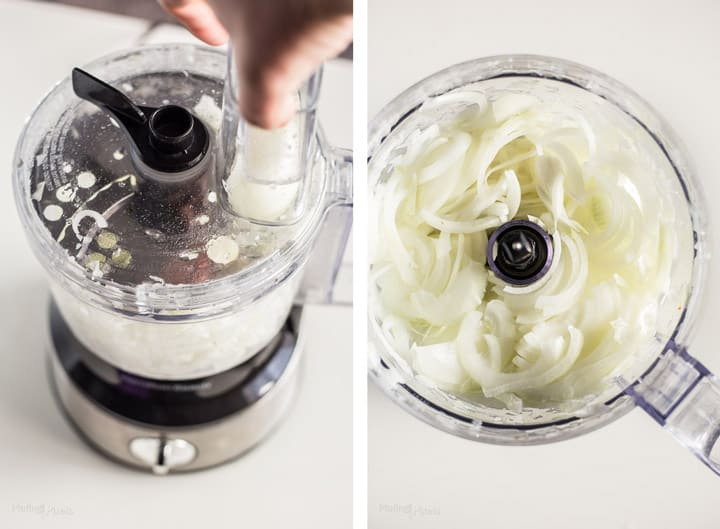 Two images showing process of slicing onions in a food processor to make French Onion Soup