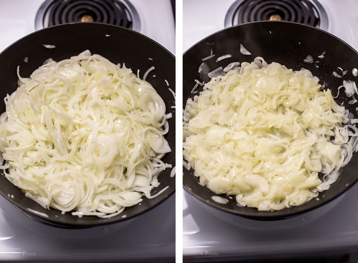 Two images showing first part of caramelizing onions in a pan to make French Onion Soup