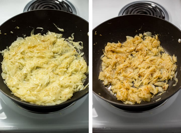 Two images showing middle part of caramelizing onions in a pan to make French Onion Soup