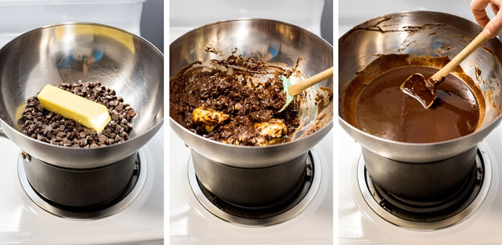 Process shot of three images showing steps to melting chocolate in double boiler on stove