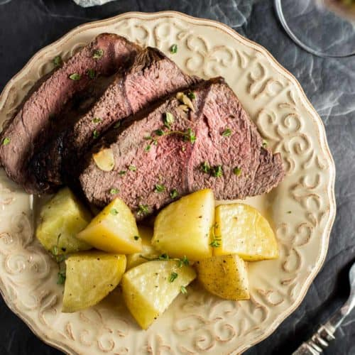 Red Wine Marinated Prime Rib with Potatoes