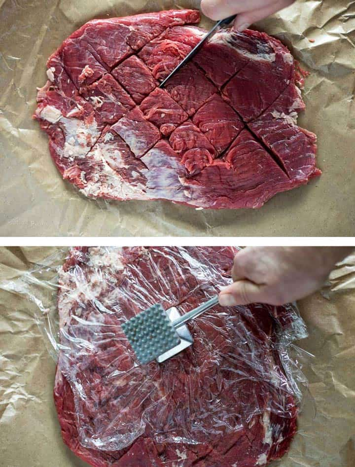 Two images - scoring flank steak with knife and hand tenderizing flank steak with a meat mallet