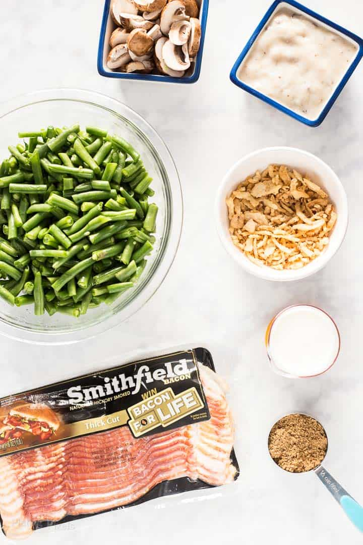 All ingredients for String Bean Casserole with Candied Bacon prepped on kitchen counter