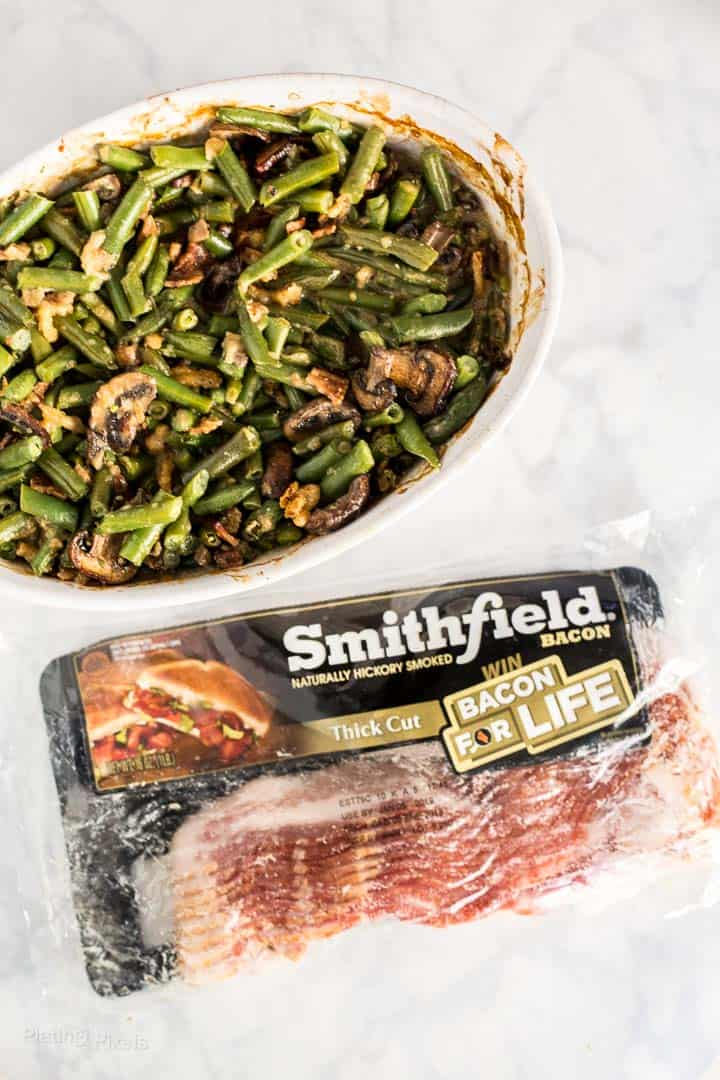 String Bean Casserole with Candied Bacon next to package of Smithfield bacon