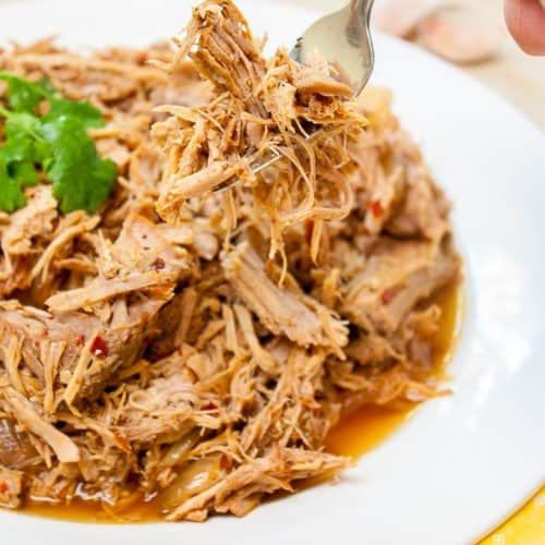 Carolina Style Slow Cooker Pulled Pork on a plate with a hand using fork to pick some up