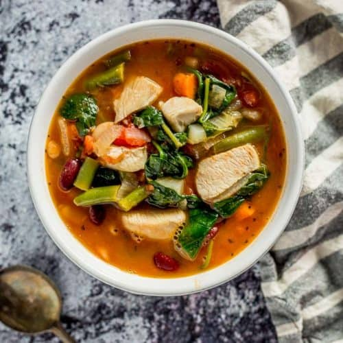 One Pot Chicken Minestrone Soup