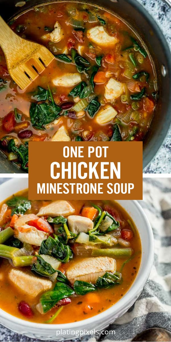 One Pot Chicken Minestrone Soup