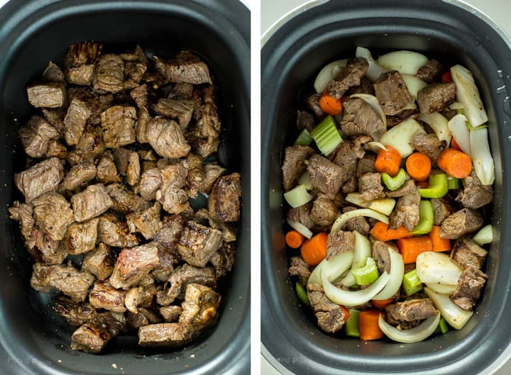 Process shot of two images - seared stew meat and meat with vegetables in a slow cooker before being slow cooked