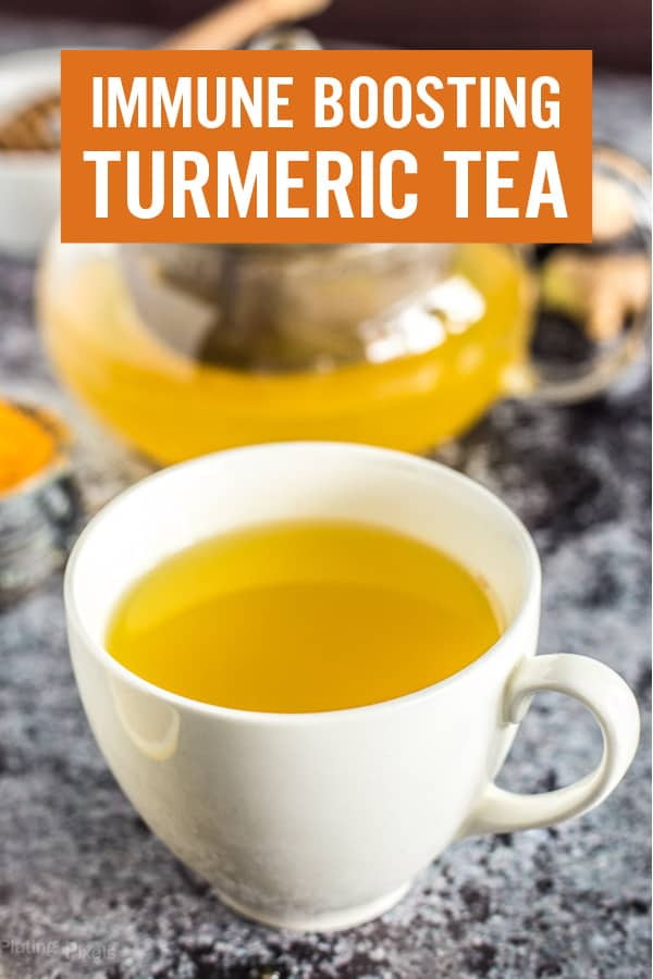 Learn how to make an Immune Boosting Turmeric Tea recipe to add to your morning routine. Just a few ingredients and 5 minutes are all you need for a powerhouse tea with lots of health benefits. Includes turmeric powder, fresh ginger, lemon juice, honey, and cayenne pepper. #turmerictea #immuneboosting #turmeric