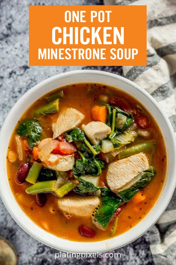 One Pot Chicken Minestrone is an easy wholesome soup. Seared chicken with carrots, celery, onion, green beans and spinach in a tomato-based broth with cannellini and navy beans. A hearty and healthy soup perfect chilly nights. #minestrone #chickensoup #onepot