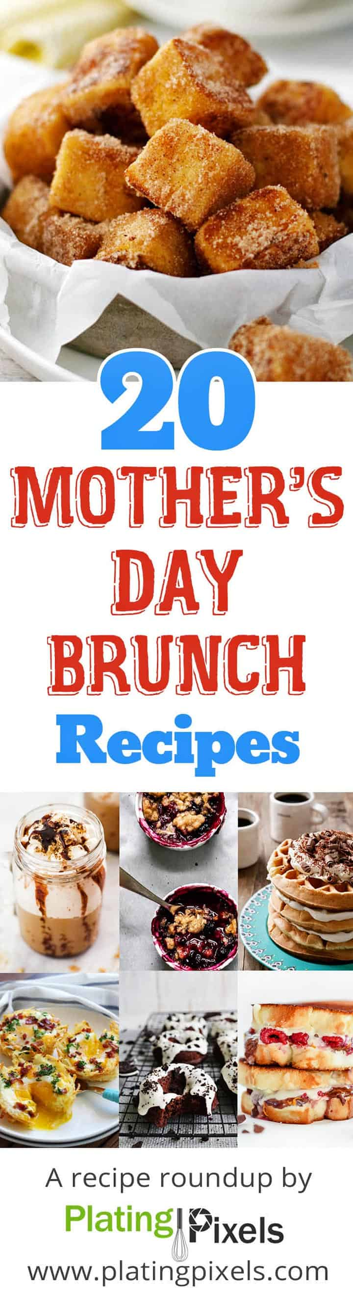 20 Mother's Day Brunch Recipes roundup image collage with text