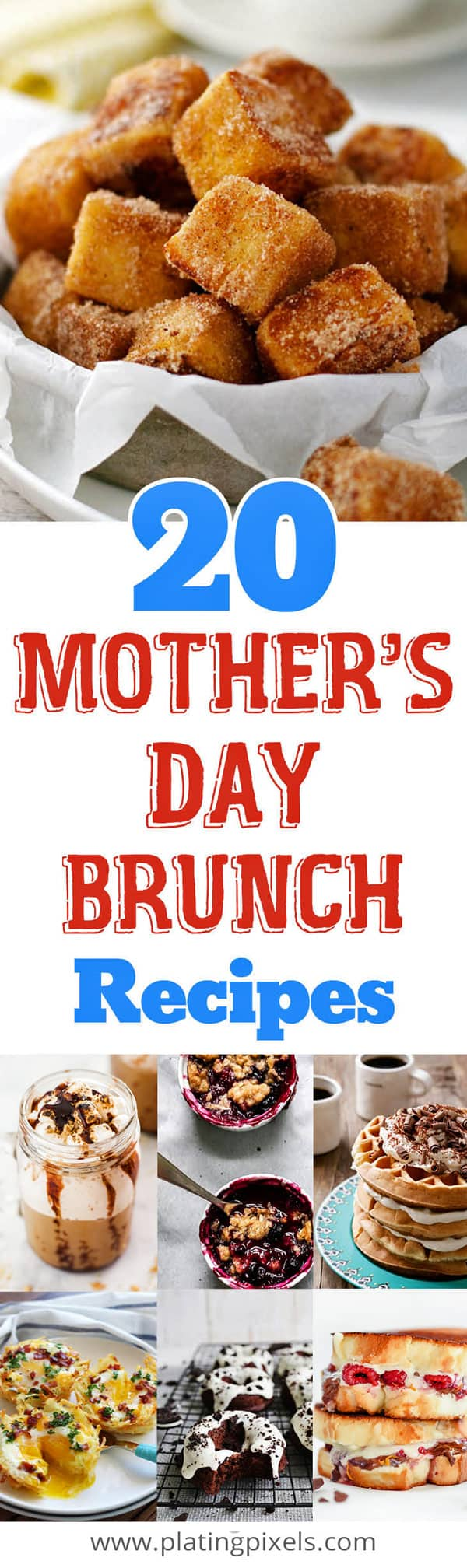 Show mom just how much she means to you with these 20 Mother\'s Day brunch recipes. From French toast, crepes, waffles, pancakes, muffins, donuts, quiches, biscuits and gravy, scones, and other sweets, here you\'ll find the best brunch recipe ideas for Mother\'s Day. #mothersday #brunch #breakfastrecipes