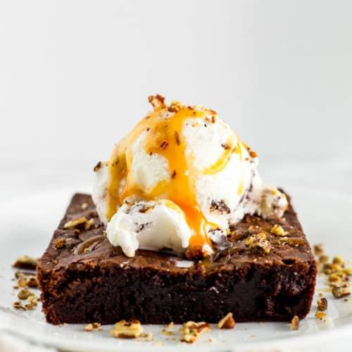 Homemade Brownie Sundae with Caramel Sauce