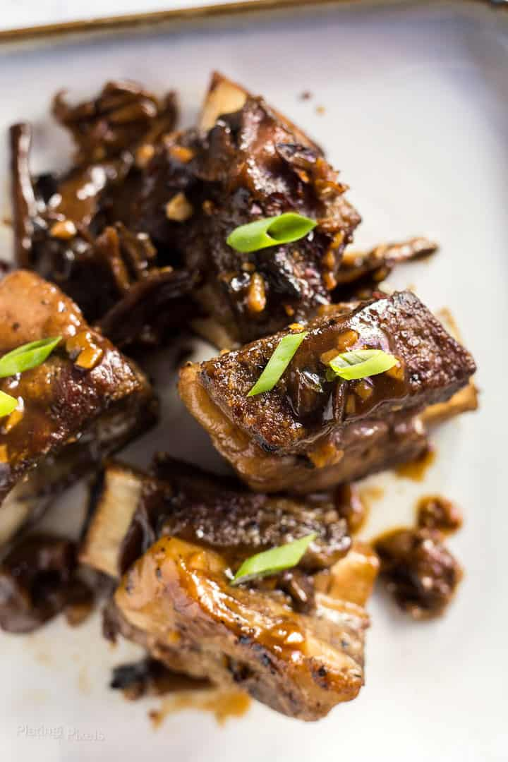 Close-up of Slow Cooker Short Ribs with Korean Sauce on a plate