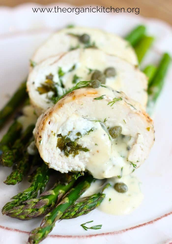 Close up of sliced Spinach and Goat Cheese Stuffed Chicken